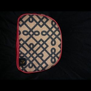 Spartina tan and black leather makeup bag